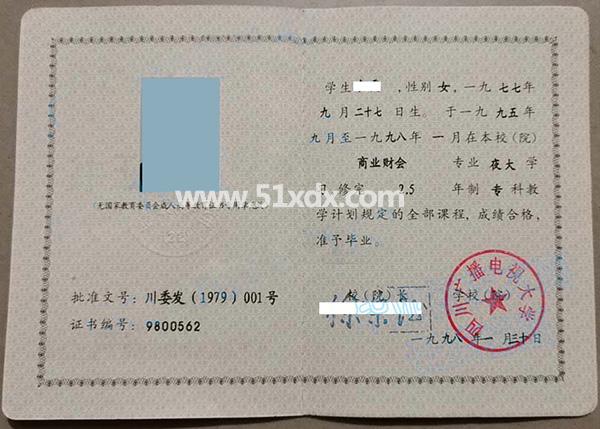 四川广播电视大学1998年专科毕业证样本图