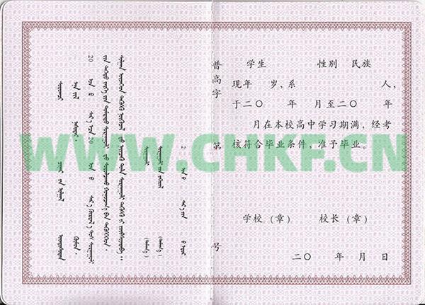 内蒙古呼和浩特市第一中学2002年高中毕业证样本图