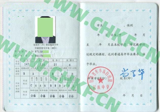 甘肃省东乡族自治县民族中学2003年高中毕业证样本