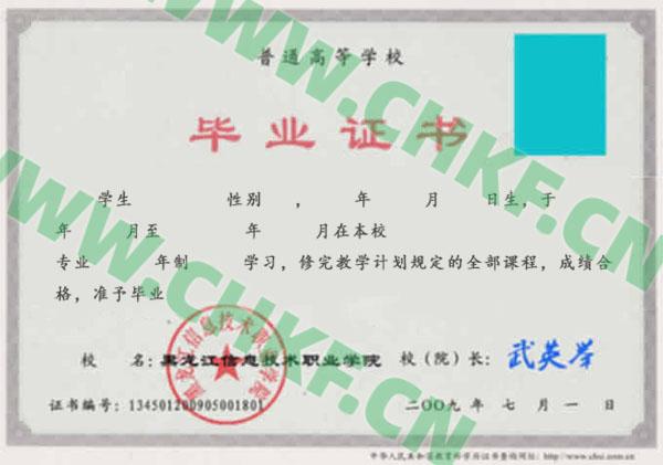 黑龙江信息技术职业学院2009年大专毕业证样本图
